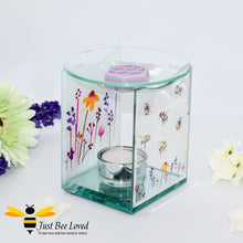 Load image into Gallery viewer, glass oil & wax melt burner featuring a clear front face decorated with flying bumblebees and matching lavender flowers on back.