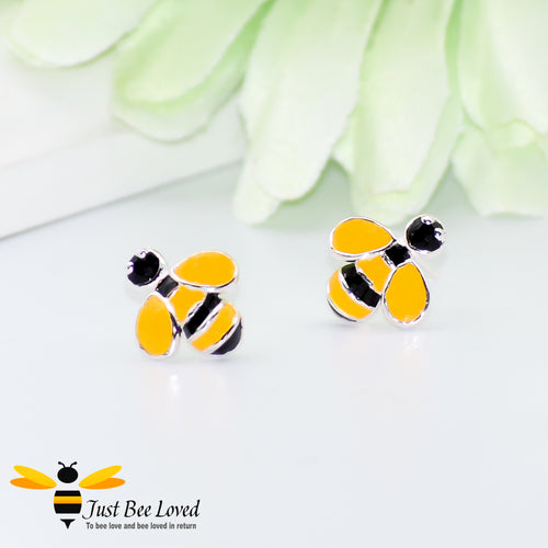 sterling silver enamelled bee stud earrings