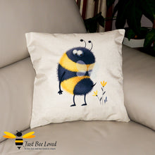 Load image into Gallery viewer, Large scatter cushion featuring a colourful image of a cute bumblebee looking at his fluffy stinger