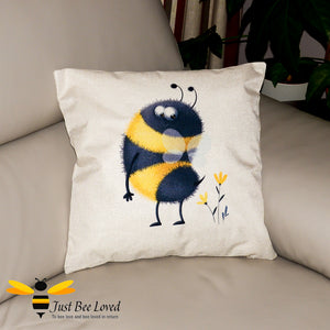 Large scatter cushion featuring a colourful image of a cute bumblebee looking at his fluffy stinger
