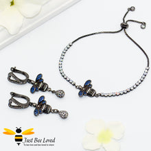 Load image into Gallery viewer, handmade rhinestone encrusted sliding bee bracelet with matching bee drop earrings.