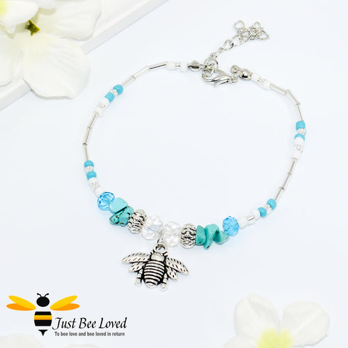 bohemian styled anklet bracelet featuring bee pendant, turquoise stones and white tube beads