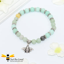 Load image into Gallery viewer, green bead bracelet featuring antique silver bee charm pendant.