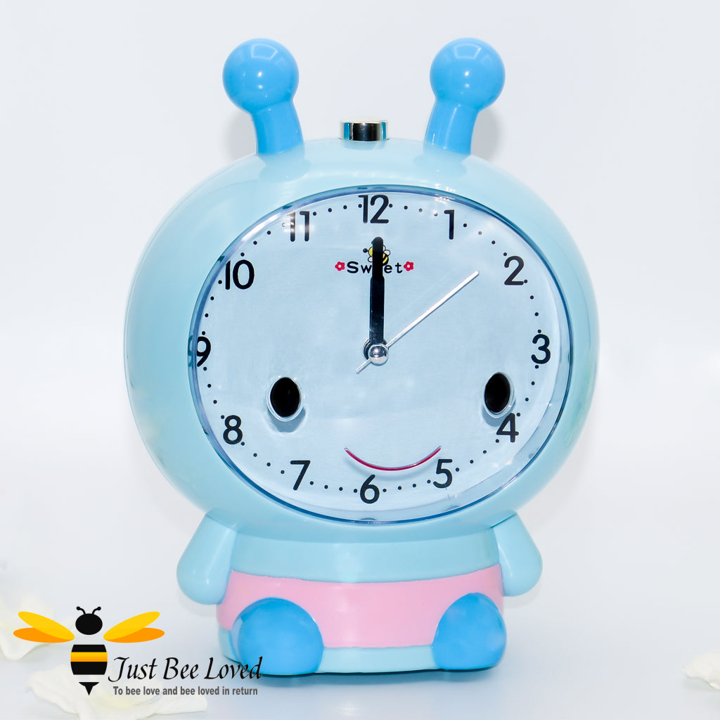Children's sweet bee musical alarm clock in blue