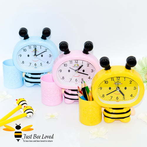 Children's bee shaped Alarm and pen holder clock in 3 colours, yellow, pink, blue