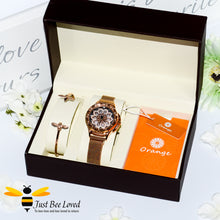 Load image into Gallery viewer, luxurious 360° rotating flower rose gold watch with matching bee bangle gift set