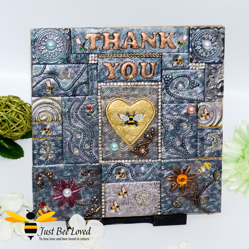 Handmade mosaic clay 'Thank You' plaque embellished with bees, flowers, pearls and crystals.