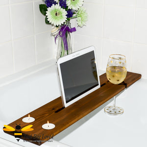 solid pine wood bath caddy tray; featuring hand-painted bumble bee art by British artist Joanna Williams