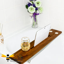 Load image into Gallery viewer, solid pine wood bath caddy tray; featuring hand-painted bumble bee art by British artist Joanna Williams