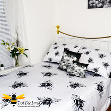 Load image into Gallery viewer, duvet bedding set featuring a bold black and white design print of large bees with matching pillow cases.