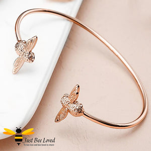 Stainless steel rose gold twin bee bangle