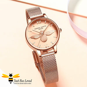 ladies rose gold bee watch with matching bee bangle rose gold dial face.