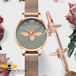 ladies rose gold bee watch with matching bee bangle