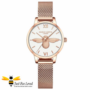 ladies rose gold bee watch with matching bee bangle white dial face.