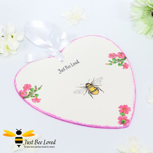 Handmade Just Bee Loved Wooden Love Heart Plaque decorated with bumblebee and flowers