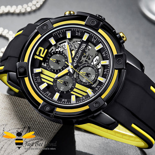 MEGIR Chronograph Men's Sports Wrist Watch Black and Yellow Colours