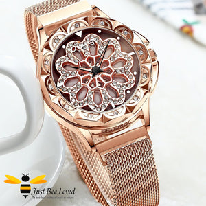 luxurious 360° rotating flower rose gold watch with matching bee bangle gift set