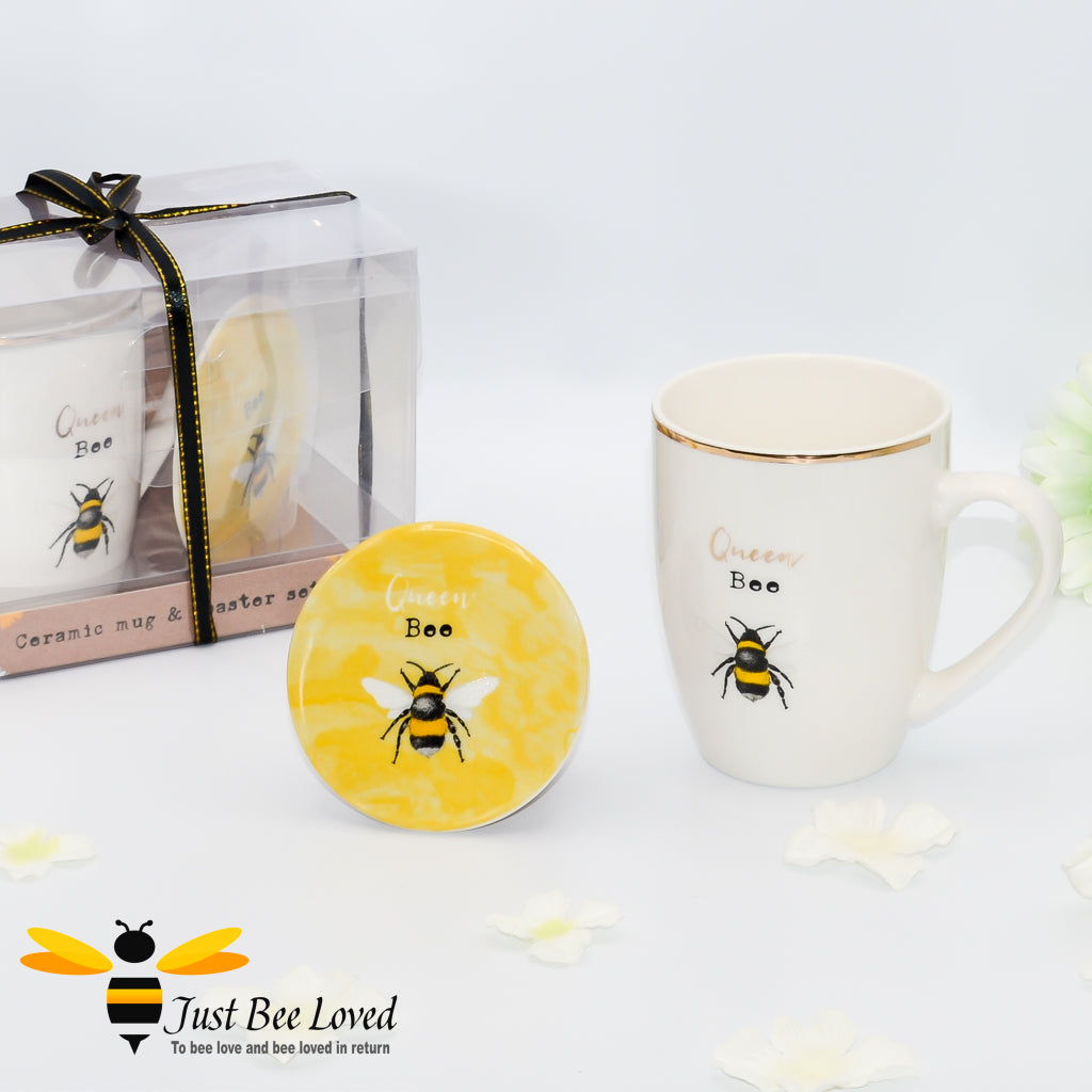 Queen Bumblebee New Bone China gold rimmed ivory Mug and matching coaster giftset