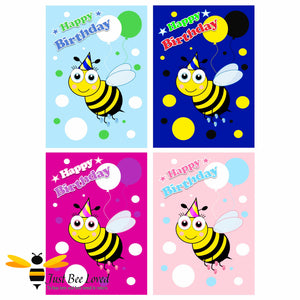 Just Bee Loved Little Bee Children's Happy Birthday Greeting Cards Value Pack