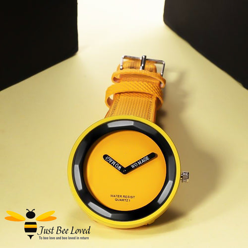 Ladies Yellow Leather Fashion Wrist Watch Bee Inspired Design