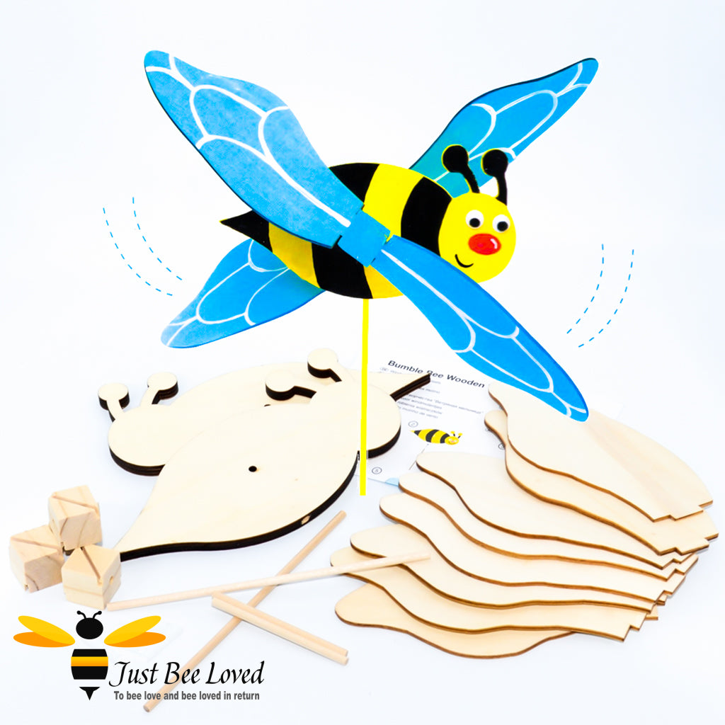 Children's Build your own bumblebee wooden windmill craft kit of 2