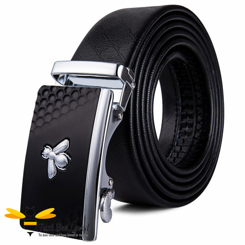 Men's Automatic Ratchet Black leather belt with silver bee buckle