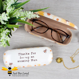 """Thanks for Bee-ing an Amazing Mum"" Bumblebees and Daisies Hard Glasses Case"