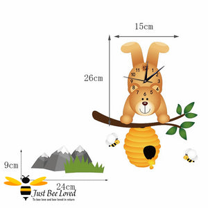 honey bear clock with bees, hive & mountains mural