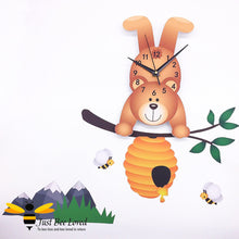 Load image into Gallery viewer, honey bear clock with bees, hive & mountains mural