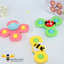Load image into Gallery viewer, Bee ladybird butterfly spinner sucker bath toys