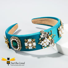 Load image into Gallery viewer, handmade baroque blue velvet headband embellished with rhinestone crystals, pearls and golden bees
