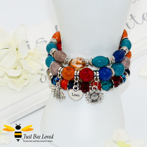 Bohemian gypsy styled 3-layer stack beaded bracelet featuring bee, love-heart and sunflower charms in multicolour blues, orange and brown
