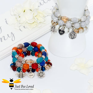 Bohemian gypsy styled 3-layer stack beaded bracelet featuring bee, love-heart and sunflower charms