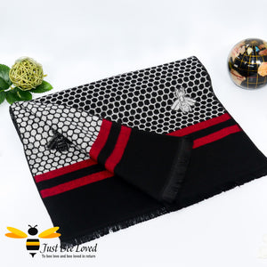 men's faux cashmere scarf with honeycomb and bee design in black and red