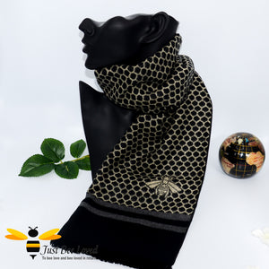 men's faux cashmere scarf with honeycomb and bee design in black and beige