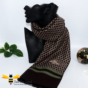 men's faux cashmere scarf with honeycomb and bee design in brown and green