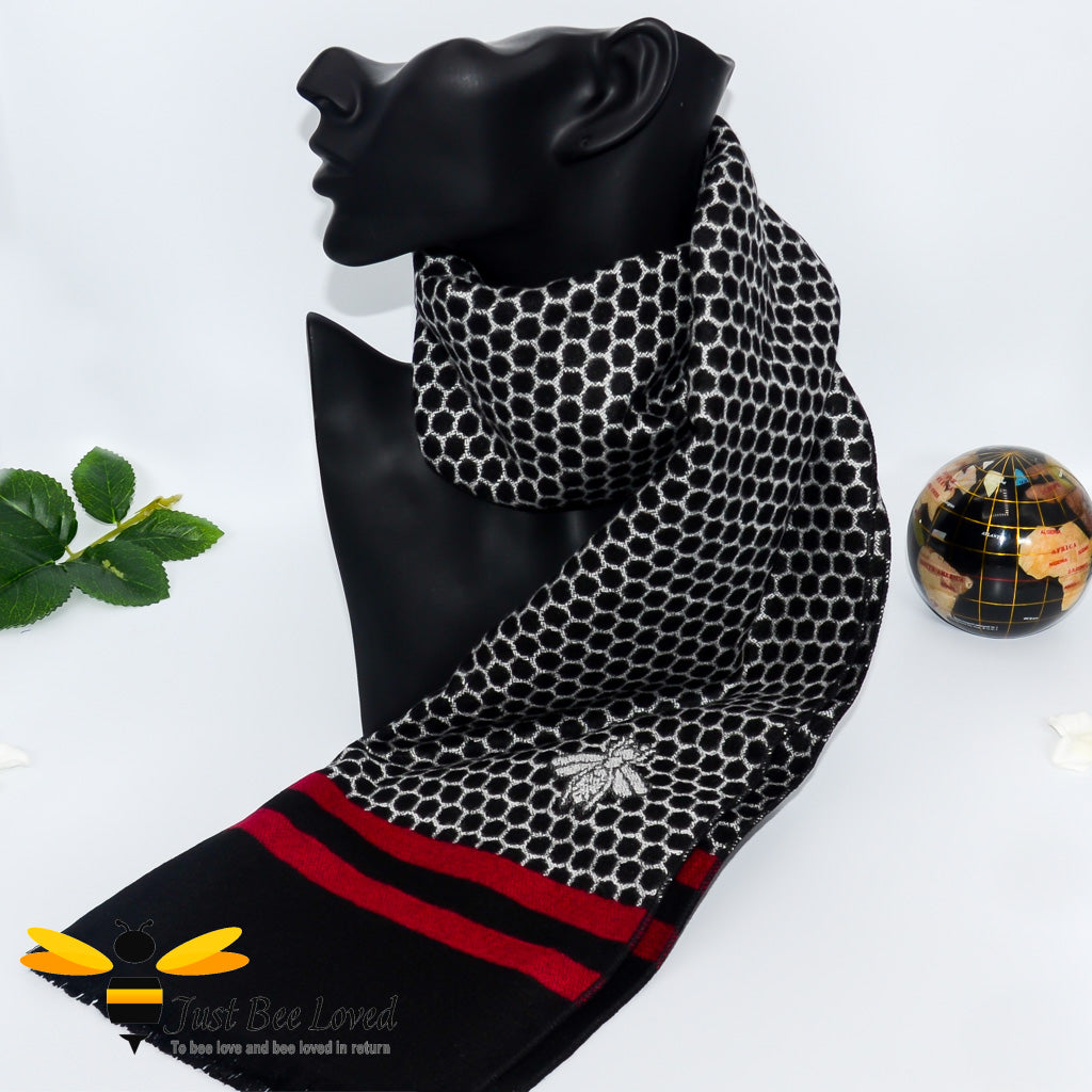 men's faux cashmere scarf with honeycomb and bee design