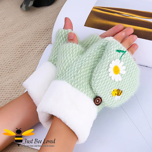 plush woollen convertible mitten gloves with cute bee & daisy embroidery in green colour