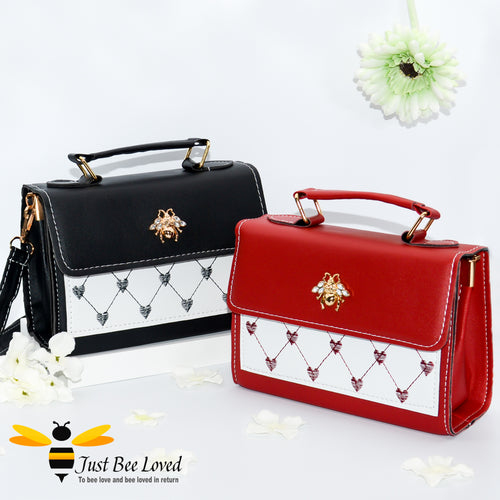 Crystal gold bee embellished small pu leather handbag with embroidery patterned love hearts
