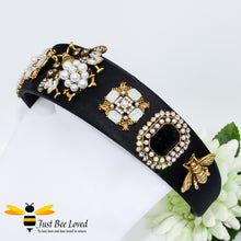 Load image into Gallery viewer, handmade baroque black velvet headband embellished with rhinestone crystals, pearls and golden bees