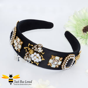 handmade baroque black velvet headband embellished with rhinestone crystals, pearls and golden bees