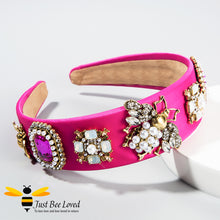 Load image into Gallery viewer, handmade baroque pink velvet headband embellished with rhinestone crystals, pearls and golden bees