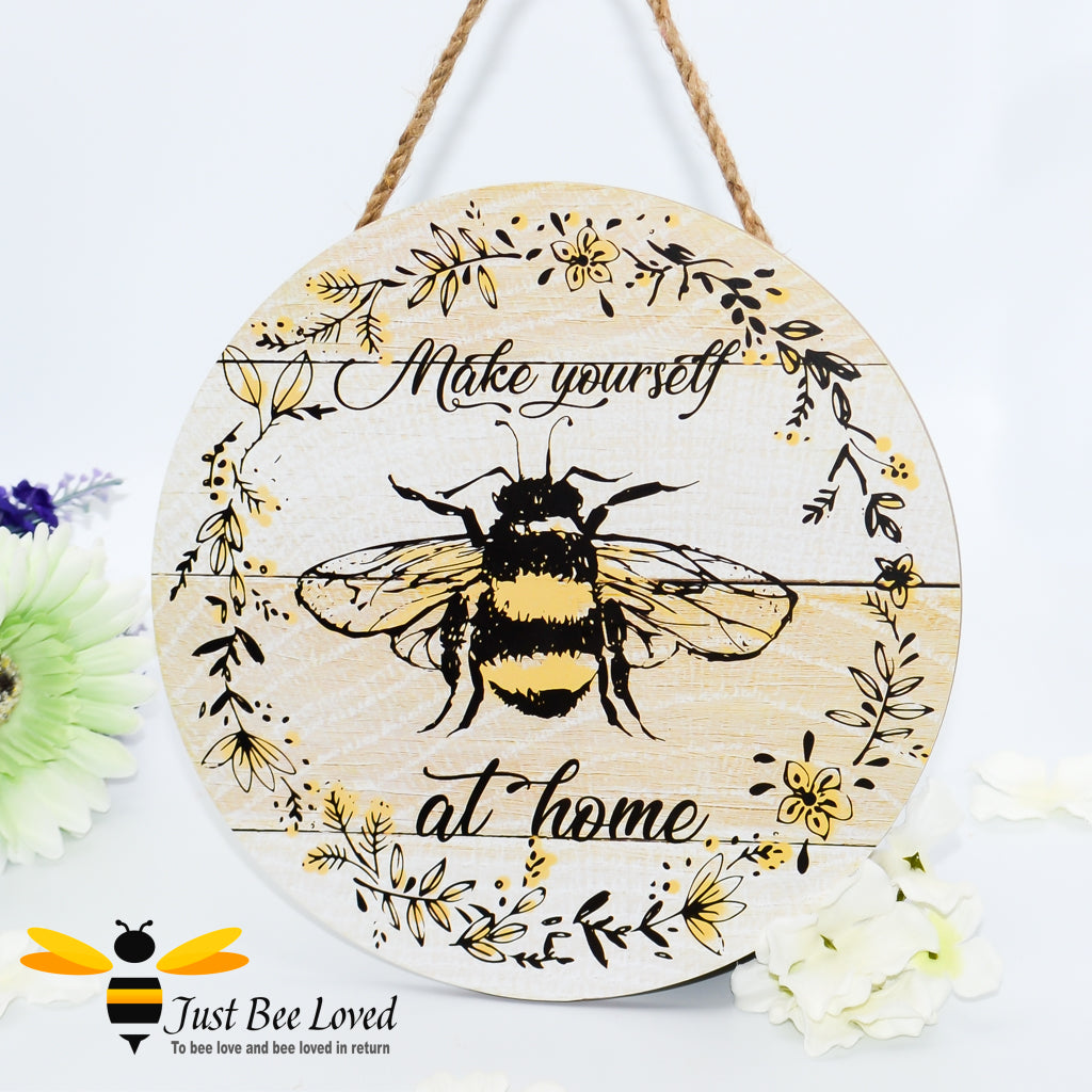 Wooden Busy Bumble Bees Hanging Wall Plaque with