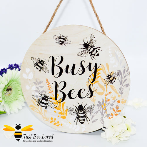 Wooden Busy Bumble Bees Hanging Wall Plaque