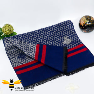 men's faux cashmere scarf with honeycomb and bee design in navy blue and red