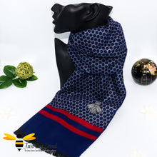 Load image into Gallery viewer, men's faux cashmere scarf with honeycomb and bee design in navy blue and red