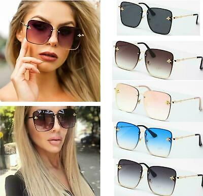 Square oversized rimless bee sunglasses