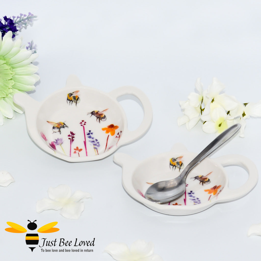Teapot shaped Tea bag tidy decorated with a watercolour painting of bumblebees and flowers