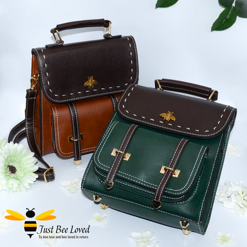 Bumble Bee Vegan Leather Backpack Handbags in Brown Green and Black