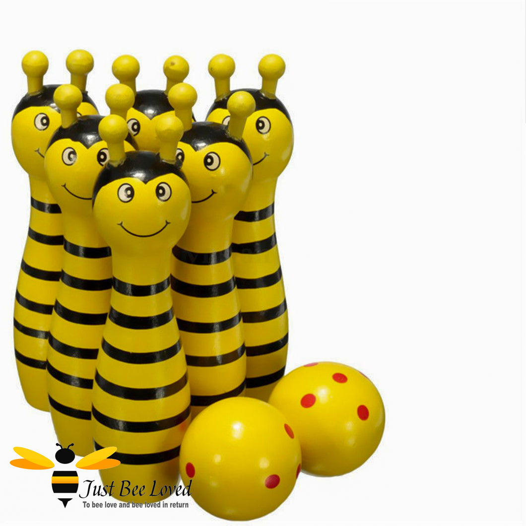 Miniature Wooden Pin Bowling Bee Skittles Set Toy